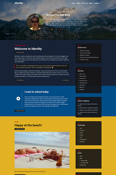Example of the Identity WordPress Theme