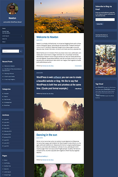 Example of the Newton WordPress Theme