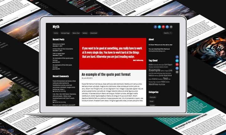 Screenshot of Myth WordPress Theme.