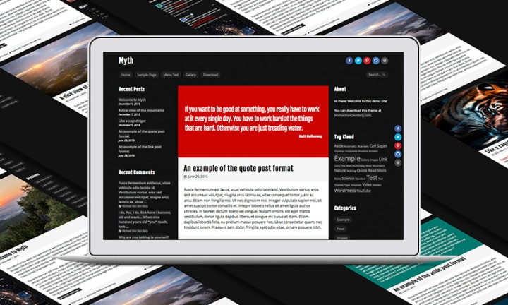 Screenshot of Myth WordPress Theme.